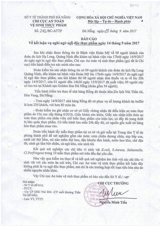 Kết luận của Chi cục An toàn vệ sinh thực phẩm TP Đà Nẵng về vụ việc.