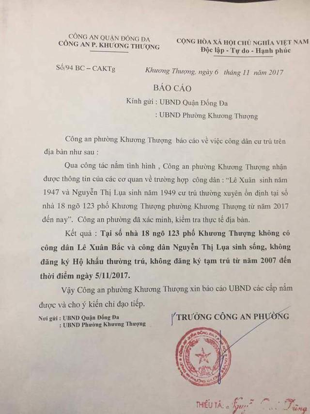 Báo cáo của Công an phường Khương Thượng