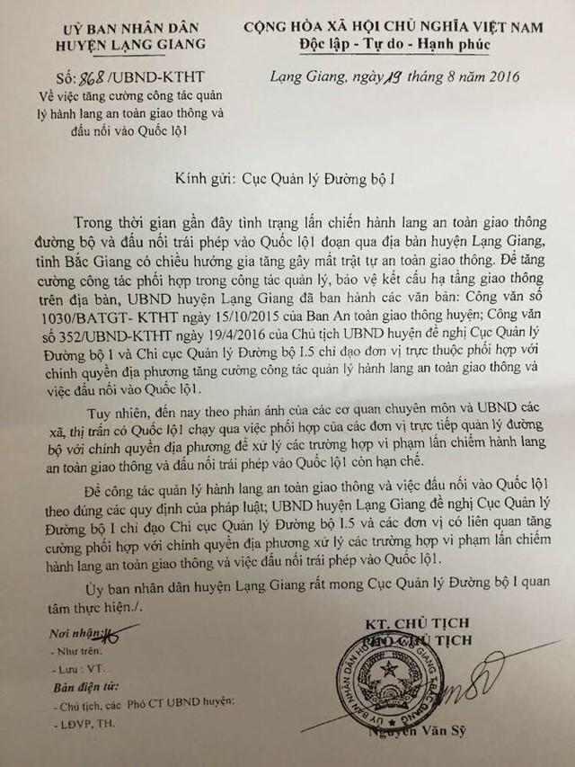 UBND huyện Lạng Giang cho biết đã nhiều lần phải gửi công văn gửi Cục Quản lý đường bộ I để đề nghị phối hợp xử lý sai phạm