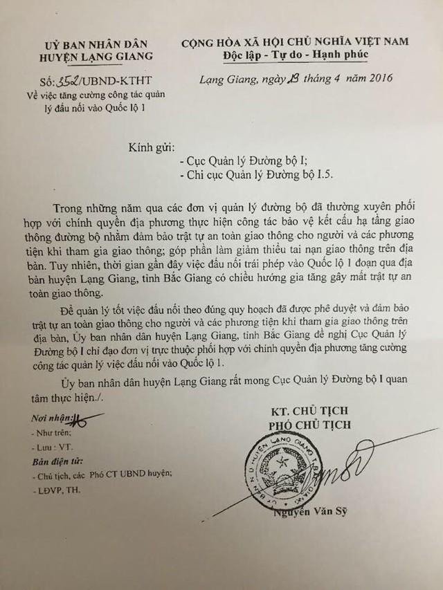 Công văn của UBND huyện Lạng Giang gửi Cục Quản lý đường bộ I và Chi cục Quản lý đường bộ I.5