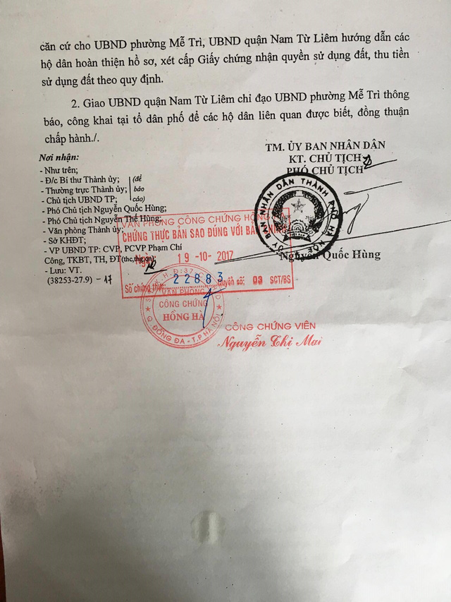 Công văn số 4944/UBND-ĐT của UBND TP. Hà Nội gửi Sở Tài nguyên và Môi trường, Sở Quy hoạch kiến trúc và UBND quận Nam Từ Liêm