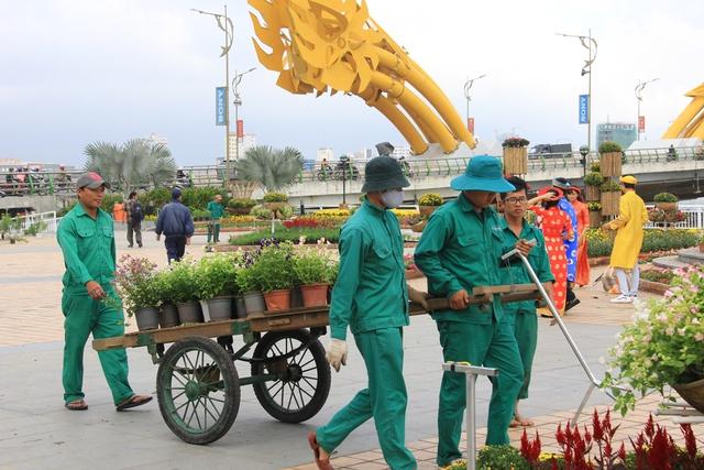 Những ngày này, các công nhân đang hoàn thiện công đoạn cuối cùng để chuẩn bị khai mạc đường hoa Bạch Đằng, phục vụ người dân và du khách vui Xuân, đón Tết