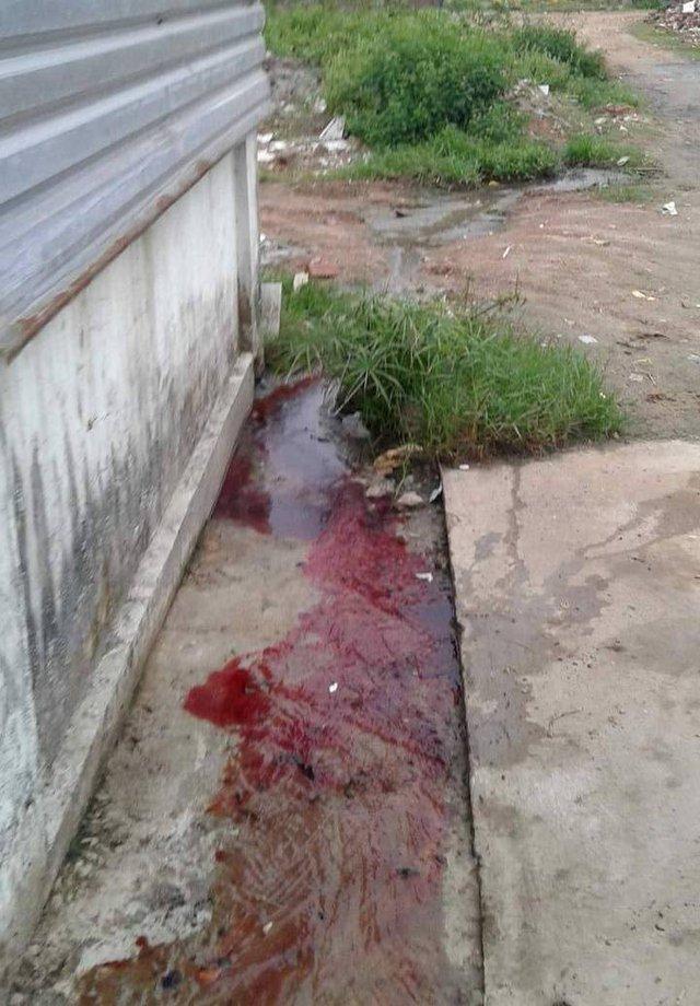 Lò mổ chui giữa khu dân cư thải nước bẩn, máu gia súc trực tiếp ra khu dân cư. Ảnh: T.T