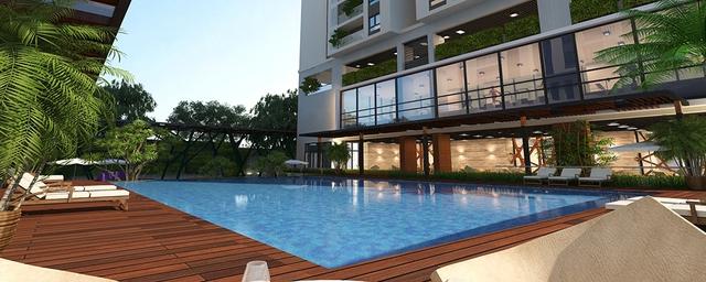 Bể bơi- tiện nghi và hiện đại, cư dân có thể thả mình trong không gian bể bơi sau mỗi ngày đi làm mệt mỏi.