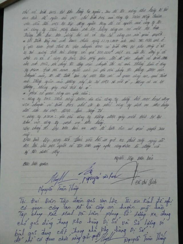 Biên bản vụ việc được lập bởi Công an xã Dị Sử, Mỹ Hào, Hưng Yên và các bên liên quan vào tối 22/9. (ảnh: HC)
