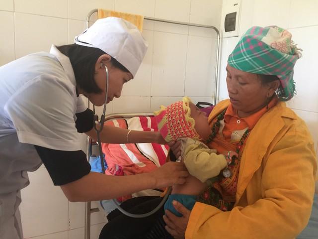 Khám sức khỏe cho bệnh nhi ở Bệnh viện Đa khoa thị xã Mường Lay, tỉnh Điện Biên. Ảnh: V.Thu