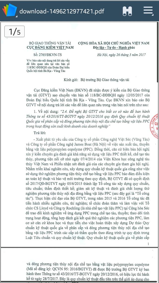 Văn bản của Vr lý giải về việc chưa cấp đăng kiểm cho tàu đóng bằng vật liệu PPC chở trên 12 người. (ảnh: HC)