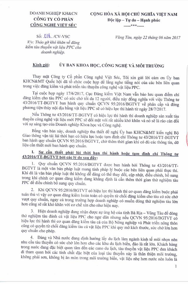 Văn bản của Cty Cổ phần công nghệ Việt Séc gửi Ủy ban KH, CN&MT Quốc hội đề nghị kiến nghị Bộ GTVT lùi thời hạn có hiệu lực hoặc tạm đình chỉ Thông tư 43/2016/TT-BGTVT. (ảnh: HC)