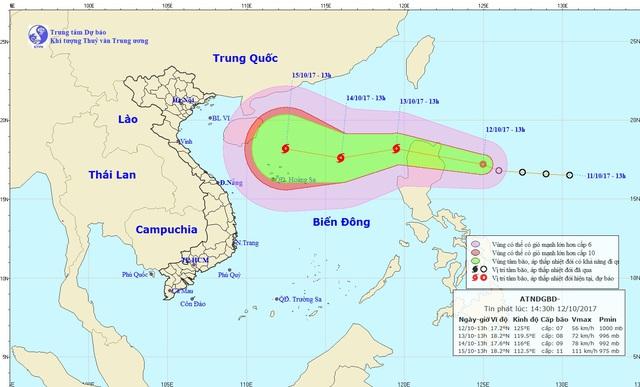 Đường đi của cơn bão mới hình thành từ áp thấp nhiệt đới gần Biển Đông.