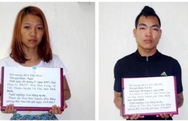 Hai đối tượng buôn bán người bị bắt giữ. Ảnh: (Cơ quan công an cung cấp)