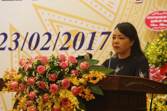 Bộ trưởng Bộ Y tế Nguyễn Thị Kim Tiến phát biểu tại buổi lễ. Ảnh: Phú Khánh