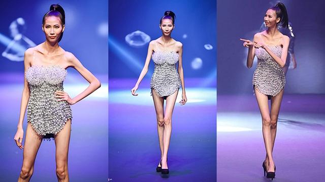 Thí sinh Cao Ngân trong đêm chung kết Vietnams Next Top Model. Ảnh: TL