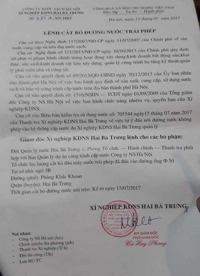 Lệnh cắt bỏ đường nước trái phép gia đình nghệ sĩ Chu Hùng. Ảnh: TL