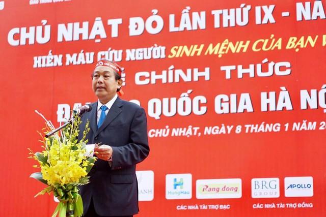 Phó Thủ tướng Trương Hòa Bình phát biểu tại ngày hội Chủ nhật Đỏ sáng 8/1. Ảnh: Thanh Hải