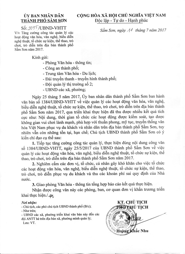 Văn bản chấn chỉnh của UBND TP Sầm Sơn.