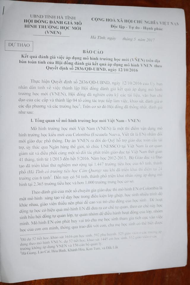 Văn bản Báo cáo kết quả đánh giá việc áp dụng mô hình trường học mới VNEN trên địa bàn Hà Tĩnh…  Ảnh: Văn Vỵ