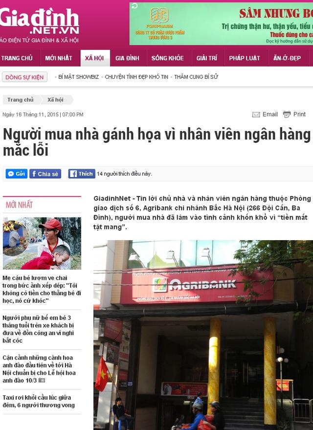 Bài báo đăng tải trên Giadinh.net.vn ngày 16/11/2015.