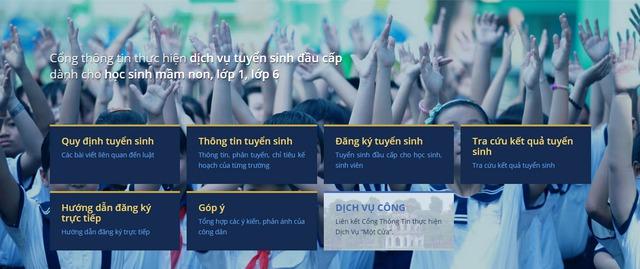 Cổng thông tin tuyển sinh trực tuyến Hà Nội năm học 2017-2018. Ảnh: Q.A