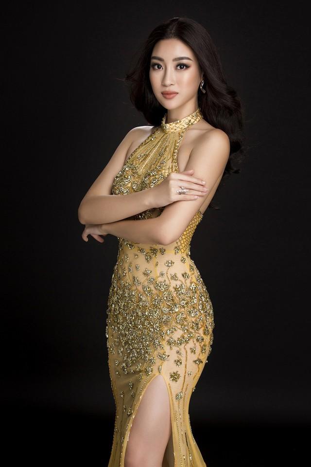 Hàng ngàn viên đá swarovski, pha lê cao cấp được nhập khẩu từ nước ngoài được kết lên và tạo hình thành những bông sen trên bộ váy.