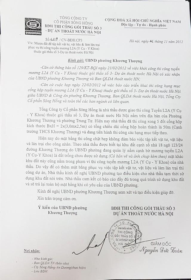 Công văn mượn đất BĐH Thi công gói thầu số 3 Dự án thoát nước Hà Nội gửi đi nhưng không được UNBD phường Khương Thượng hồi đáp