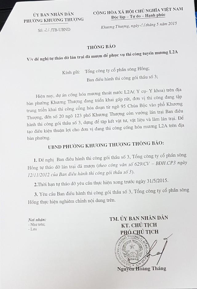 Thông báo đề nghị Ban điều hanh thi công gói thầu số 3 - Tổng công ty sông Hồng mà ông Nguyễn Hoàng Thắng cung cấp cho báo chí