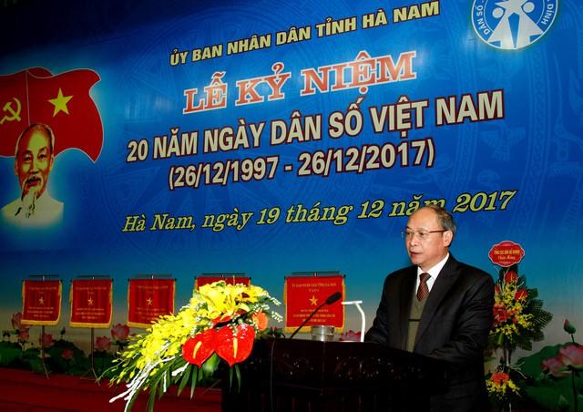 Ông Nguyễn Văn Tân - Phó Tổng cục trưởng phụ trách Tổng cục DS - KHHGĐ phát biểu tại Lễ kỷ niệm