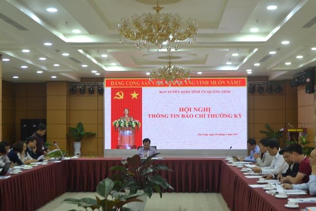 Hội nghị thông tin báo chí thường kỳ tỉnh Quáng Ninh. Ảnh: Đ.Tuỳ