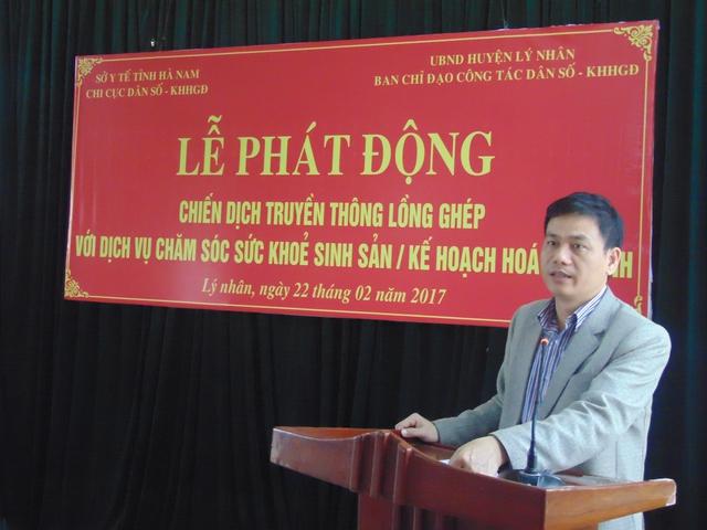 Ông Trịnh Thế Mạnh - Phó Chủ tịch UBND huyện Lý Nhân phát biểu tại Lễ phát động.
