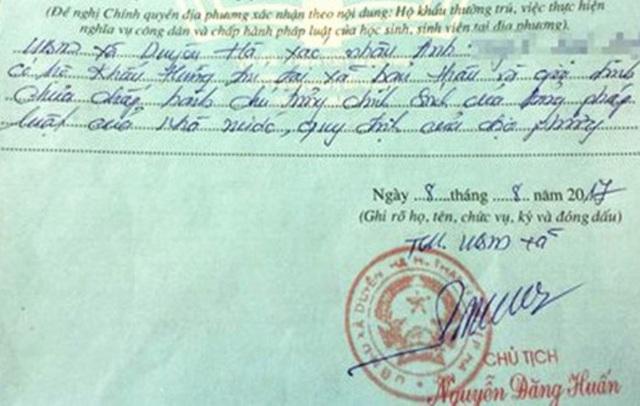 UBND huyện Thanh Trì sẽ phê bình Chủ tịch UBND xã Duyên Hà vì phê xấu lý lịch tân sinh viên.