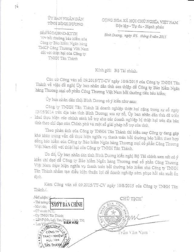 Công văn của UBND tỉnh Bình Dương gửi Bộ Tài chính