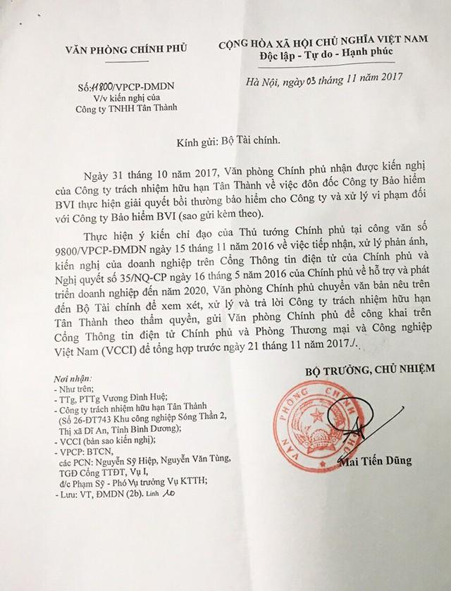 Công văn của Văn phòng Chính phủ gửi Bộ Tài chính