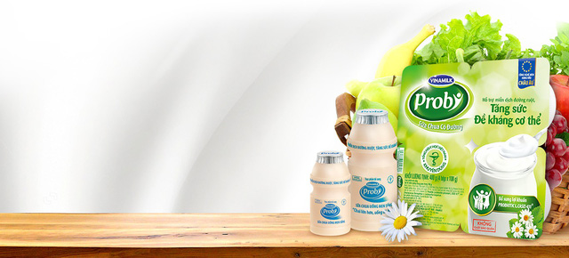 Probiotics được ứng dụng trong các sản phẩm sữa chua ăn và uống Probi của Vinamilk, đặc biệt dòng sản phẩm ít đường phù hợp với nhu cầu của các chị em phụ nữ.
