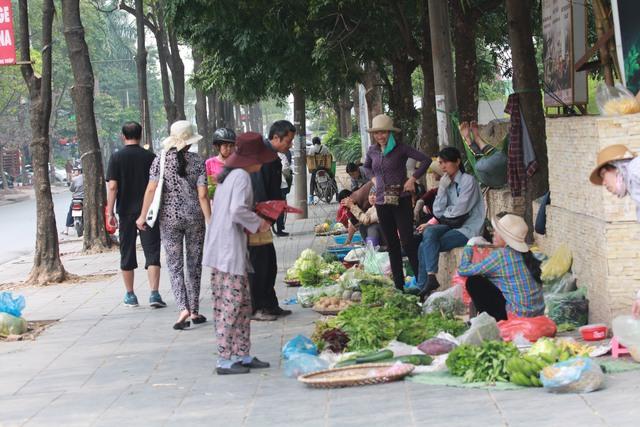 Chợ tạm xuất hiện ở vỉa hè đường Nguyễn Thị Thập