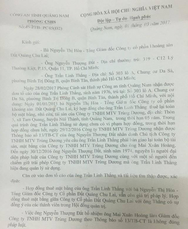 Thông báo số 157 của Công an Quảng Nam về vụ việc. Ảnh: Đ.H
