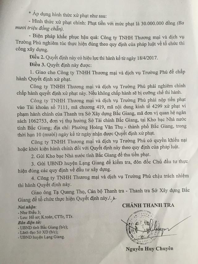 Quyết định xử phạt vi phạm hành chính của Chánh thanh tra Sở Xây dựng Bắc Giang đối với Công ty Trường Phú vì xây dựng công trình sai nội dung giấy phép