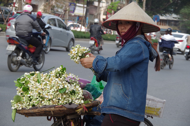 Mùa hoa bưởi ngắn ngủi cũng giúp người bán dạo kiếm tiền triệu. Ảnh: H.Phương