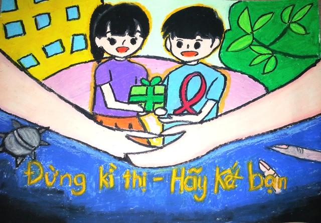 Một bức tranh đoạt giải trong cuộc thi Vẽ tranh Bảo vệ chăm sóc trẻ em năm 2016. Ảnh minh họa