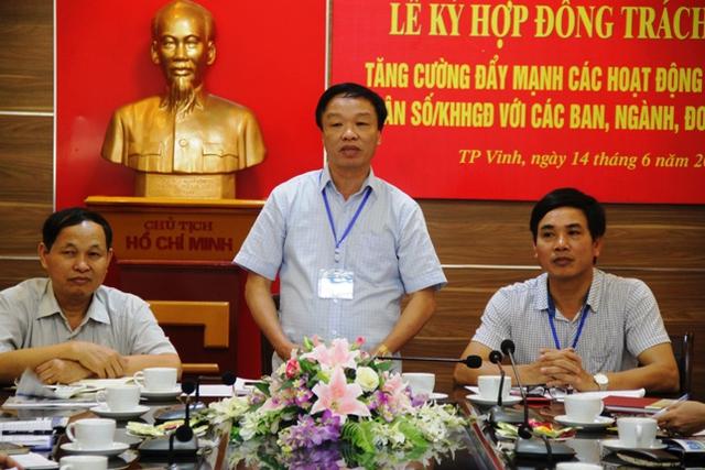 Ông Nguyễn Bá Tân - Chi cục trưởng Chi cục DS - KHHGĐ Nghệ An mong muốn các ban, ngành đoàn thể đóng góp ý kiến để thực hiện tốt công tác dân số. Ảnh: V. Đồng