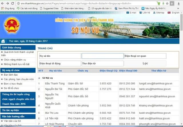 Website Sở Nội vụ Thanh Hóa đã cắt bỏ phần nội dung danh bạ của Sở NN&PTNT gây hiểu nhầm ông Xứng - Chủ tịch UBND tỉnh vẫn kiêm Giám đốc Sở NN&PTNT.