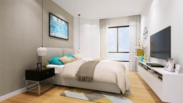 Phòng ngủ hiện đại đón ánh sáng tự nhiên của căn hộ ICID Complex. (ảnh: TG)