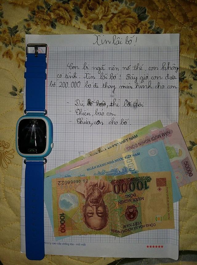 Lời xin lỗi của cậu bé lớp 5 cùng số tiền nhờ bố sửa đồng hồ được chia sẻ lên mạng xã hội. Ảnh: facebook.