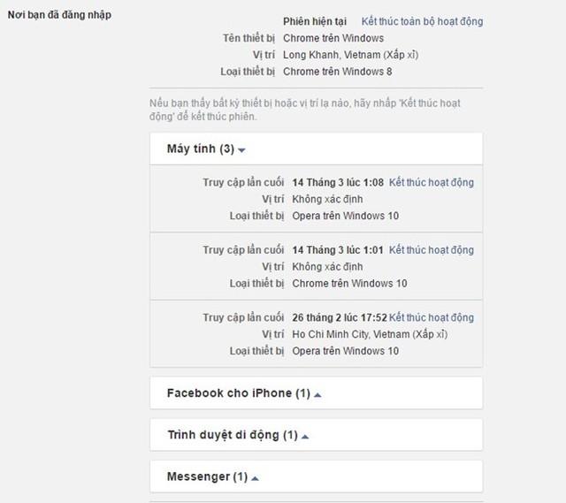 Kiểm tra những nơi bạn đã đăng nhập Facebook Ảnh: Chụp từ màn hình.