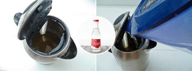 Bạn có thể sử dụng giấm để làm sạch cáu bẩn trong ấm đun nước.