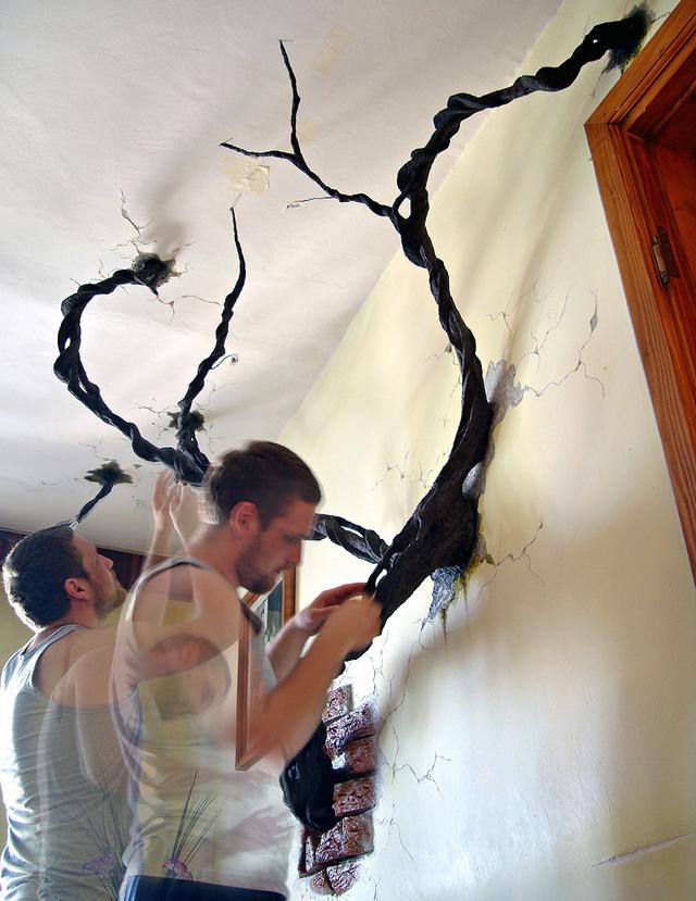 Chân dung Petrescu Silviu khi đang thực hiện tác phẩm của mình. Những bức tranh trang trí nhà này của anh được kết hợp giữa nghệ thuật vẽ 2D và 3D.