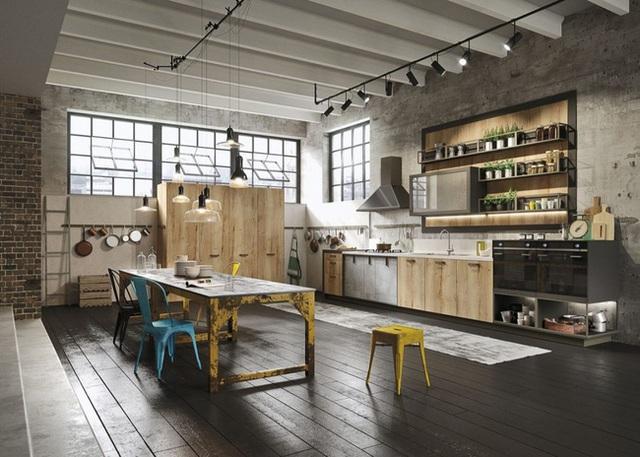 1. Căn bếp hội tụ đầy đủ những vật liệu đại diện cho phong cách công nghiệp như gạch thô, bê tông, ống sắt, gỗ.
