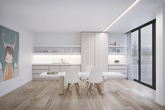 1. Sàn phòng ăn được lót ván gỗ với đường vân rất tự nhiên, kết hợp với sắc trắng của nền tường và hệ thống kệ mở. Bên cạnh đó, ánh sáng nhẹ nhàng từ khu vực backplash càng làm nó thêm quyến rũ.
