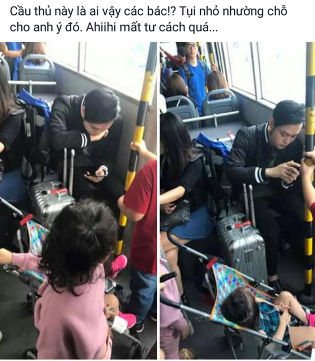 Hình ảnh Quang Vinh bình thản ngồi trên ghế dù có trẻ em phải đứng ngay trước mắt được một cư dân mạng chụp lại và đăng tải lên Facebook.