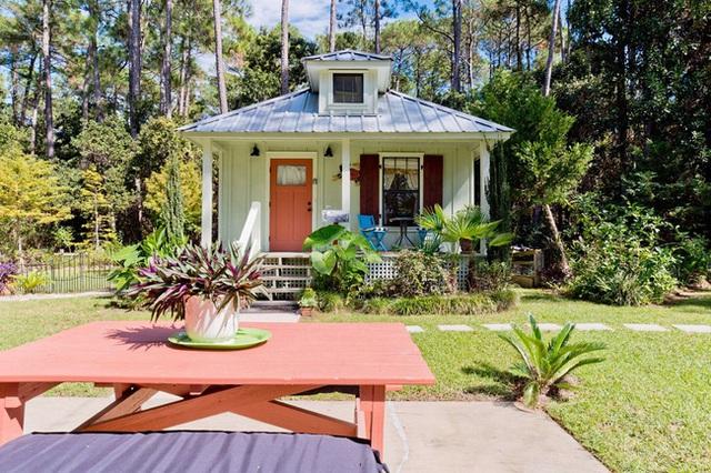 Ngôi nhà được bao quanh bởi cây và cánh rừng xanh hút tầm mắt.