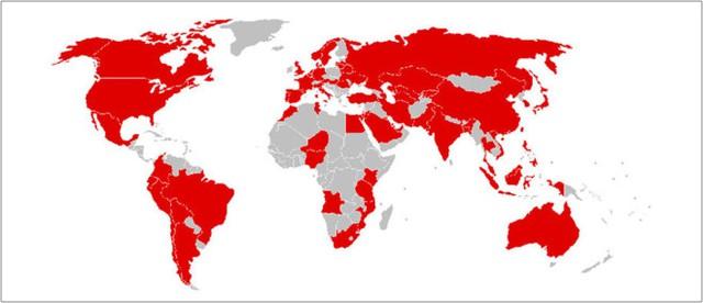Bản đồ những nước đã bị tấn công bởi mã độc WannaCry. Ảnh: Escanav.