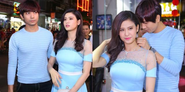 Cặp đôi tiếp tục thể hiện sự đồng điệu với tông xanh pastel